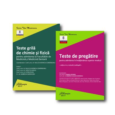 Set 2 carti - Teste grila de chimie si fizica, pentru admiterea la Facultatea de Medicina Generala