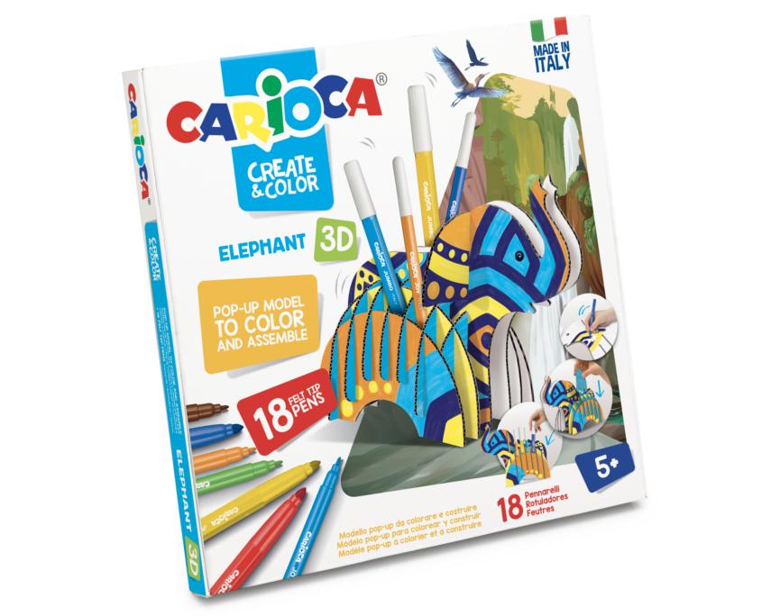 Set articole creative model Elefant 3D, Carioca