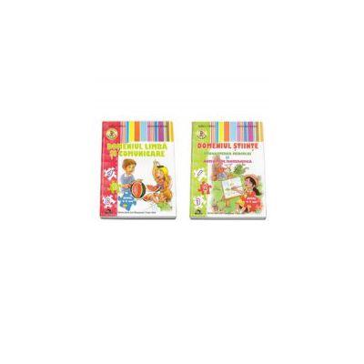 Set de 2 caiete pentru gradinita, nivel 4-5 ani. Domeniul Limba si Comunicare, Domeniul Stiinte (Cunoasterea Mediului si Activitate Matematica) - Editia 2015