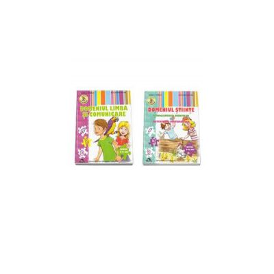 Set de 2 caiete pentru gradinita, nivel 5-6 ani. Domeniul Limba si Comunicare, Domeniul Stiinte (Cunoasterea Mediului si Activitate Matematica) - Editia 2015