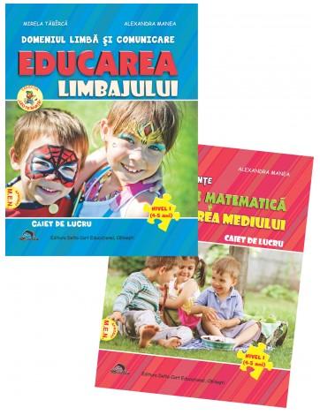 Set de 2 caiete pentru gradinita NIVEL I (4-5 ani). Activitate matematica si cunoasterea mediului si Educarea limbajului, Reeditare in 2021