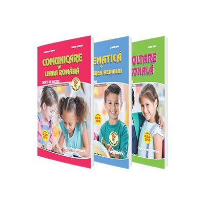 Set de 3 caiete pentru clasa pregatitoare - Comunicare in Limba Romana, Dezvoltare personala, Matematica si explorarea mediului