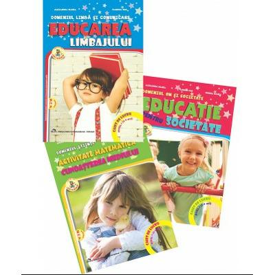 Set de 3 caiete pentru gradinita NIVEL I (3-4 ani). Activitate matematica si cunoasterea mediului si Educarea limbajului, Reeditare in 2021