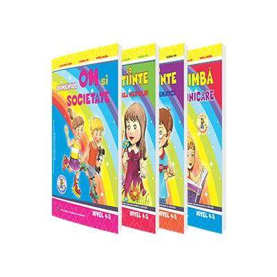 Set de 4 caiete pentru gradinita, nivel 4-5 ani. Domeniul, Limba si comunicare, Om si societate, Stiinte (Activitate Matematica), Stiinte (Cunoasterea Mediului), Editia 2017
