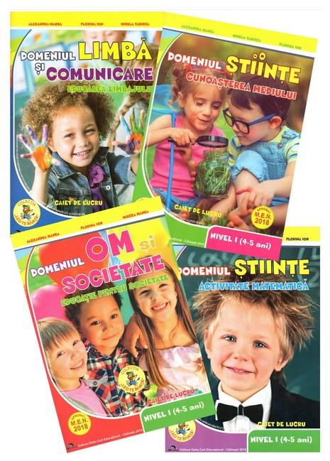 Set de 4 caiete pentru gradinita, nivel 4-5 ani. Domeniul, limba si comunicare, om si societate, stiinte (matematica), stiinte (cunoasterea mediului) - Editia, 2018