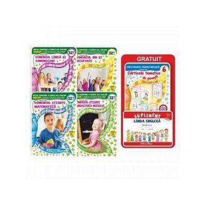 Set de 4 carti pentru gradinita, grupa mijlocie 4-5 ani. Contine 6 carticele tematice de povesti si un supliment pentru limba engleza (Editie 2017)