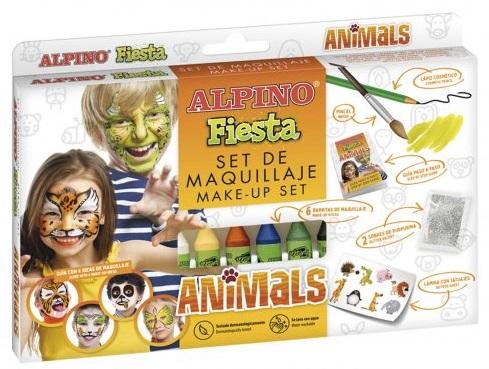 Set machiaj ALPINO Animals - 6 culori x 5 gr   accesorii