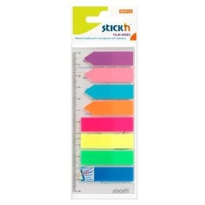Stick index plastic transp. color 45 x 12 mm, 8 x 25 file/set + index sageata, Stick -8 culori neon