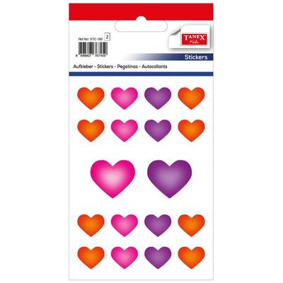 Stickere decorative, 18 buc/fila, 2 file/set,  inimi -TANEX Kids