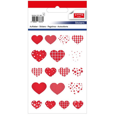 Stickere decorative, 18 buc/fila, 2 file/set, Tanex Kids - inimi