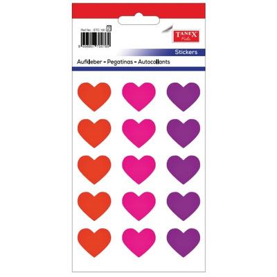 Stickere decorative inimi, 15 buc/fila, 2 file/set, Tanex Kids