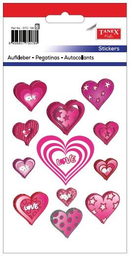 Stickere decorative inimi cu love si stelute, 12 buc/fila, 2 file/set, Tanex Kids