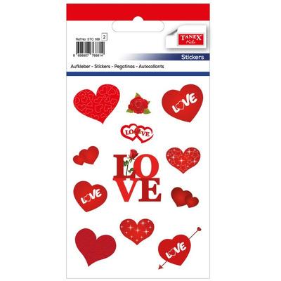 Stickere decorative, inimi cu love si trandafiri, 11 buc/fila, 2 file/set, Tanex Kids