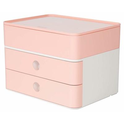 Suport cu 2 sertare, cutie ustensile, roz flamingo, Han Allison Smart Box Plus