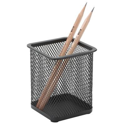 Suport metalic Mesh, pentru instrumente de scris, forma patrata, negru, Q-Connect