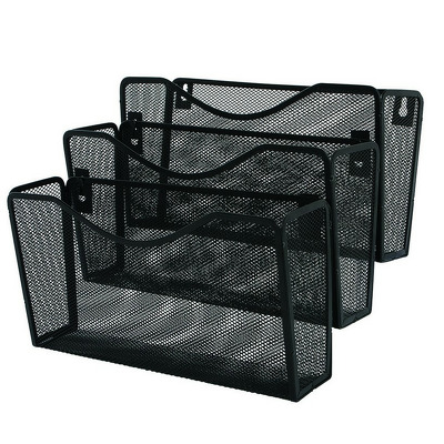 Suport metalic Mesh, pentru reviste si pliante, de perete, negru, 3 buc/set, Q-Connect
