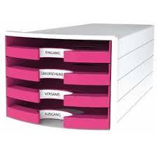 Suport plastic cu 4 sertare pentri documente, alb - sertare roz, Han