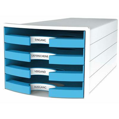Suport plastic cu 4 sertare pentru documente, alb - sertare bleu, Han
