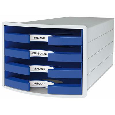 Suport plastic cu 4 sertare pentru documente, gri deschis - sertare albastre, Han