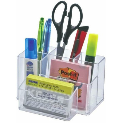 Suport plastic pentru accesorii de birou, 6 compartimente, transparent, 105 x 85mm, Kejea