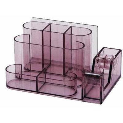 Suport plastic pentru accesorii de birou, 7 compartimente, fumuriu, 168 x 78mm, Kejea
