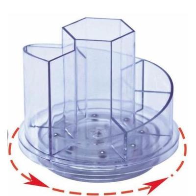 Suport plastic pentru accesorii de birou, rotativ, transparent, 7 compartimente, Kejea