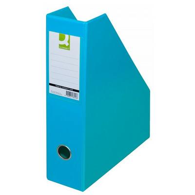 Suport reviste, carton plastifiat PVC, bleu, latime 76mm, Q-Connect