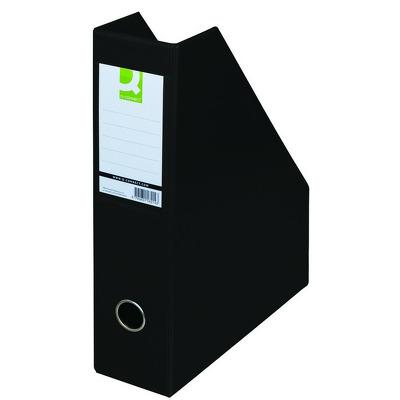 Suport reviste, carton plastifiat PVC, negru, latime 76mm, Q-Connect