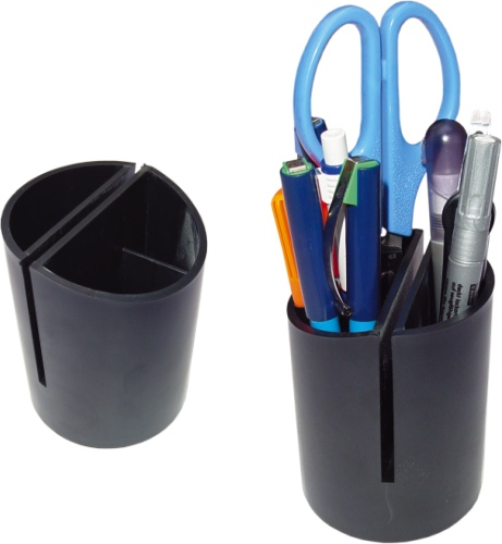 Suport plastic cilindric pt, instrumente de scris-Negru