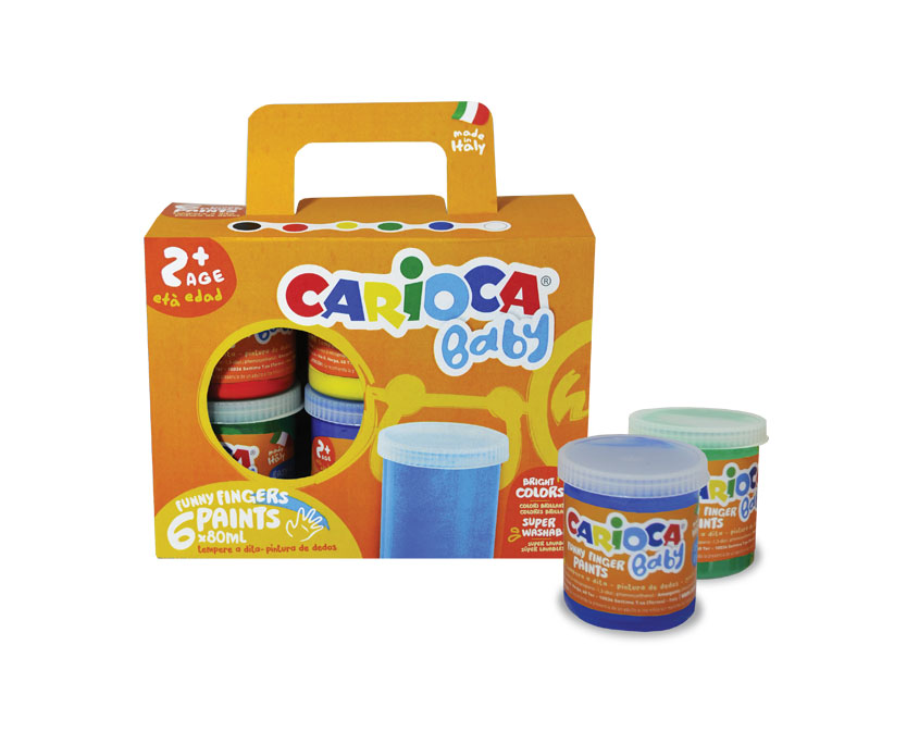 Tempera super lavabila, pentru pictura cu mana, 6 culori x 80ml/set, Carioca Baby Finger Paint 2
