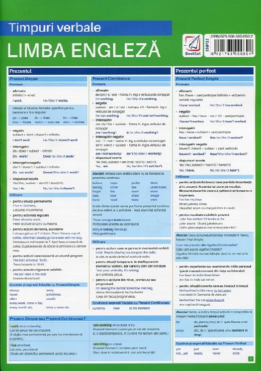 Timpurile verbale in limba engleza. Pliant