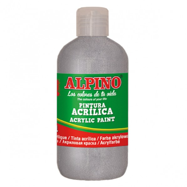 Vopsea acrilica, rezistenta la apa, 250ml, Alpino - argintiu metalizat