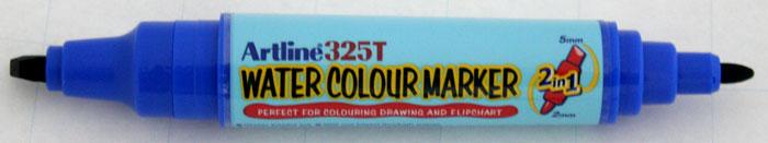 Watercolor marker ARTLINE 325T, doua capete - varf rotund 2.0mm/tesit 5.0mm - albastru