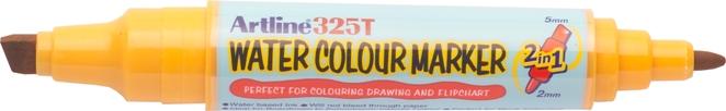 Watercolor marker ARTLINE 325T, doua capete - varf rotund 2.0mm/tesit 5.0mm - galben