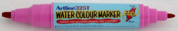 Watercolor marker ARTLINE 325T, doua capete - varf rotund 2.0mm/tesit 5.0mm - roz