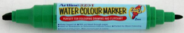 Watercolor marker ARTLINE 325T, doua capete - varf rotund 2.0mm/tesit 5.0mm - verde