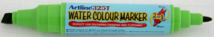 Watercolor marker ARTLINE 325T, doua capete - varf rotund 2.0mm/tesit 5.0mm - vernil