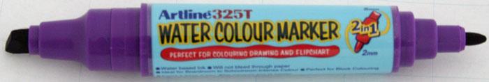 Watercolor marker ARTLINE 325T, doua capete - varf rotund 2.0mm/tesit 5.0mm - violet