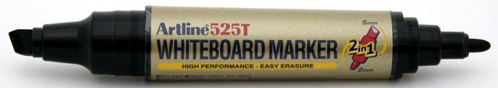 Marker pentru tabla de scris Artline 525T, doua capete - varf rotund 2.0mm/tesit 5.0mm - negru
